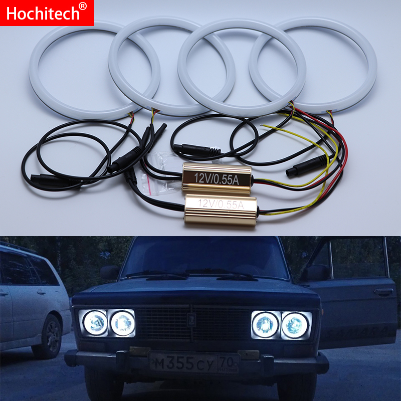 For Lada Vaz 2106 1996-2001 White & Amber Dual color Cotton LED Angel eyes kit halo ring DRL Turn signal light image