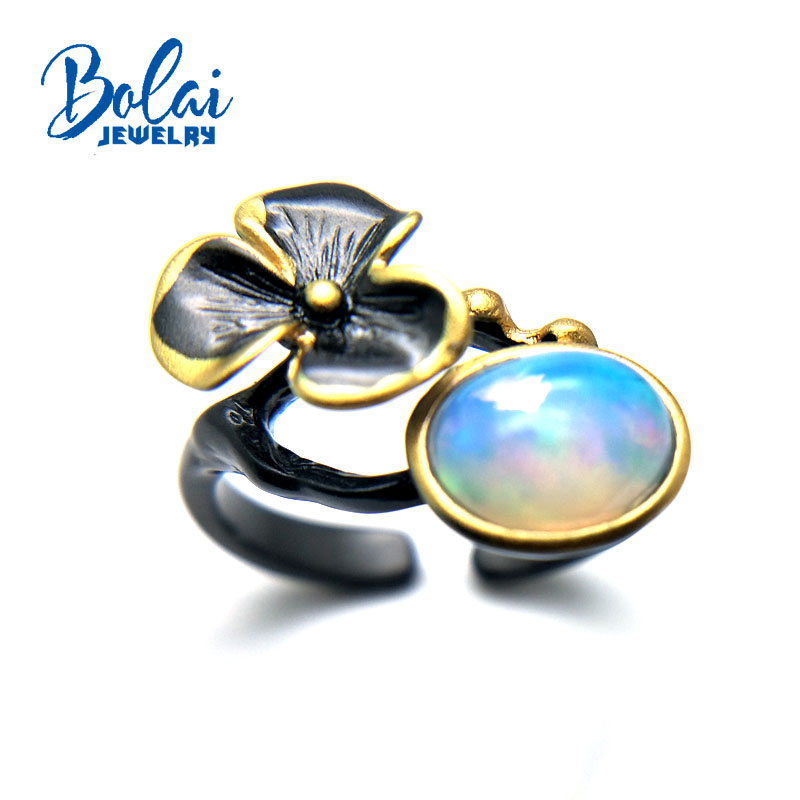 Bolaijewelry,2018 new lovery flower design with natural ethiopian opal oval 7*9mm 2ct gemstone Ring 925 sterling silver for lady