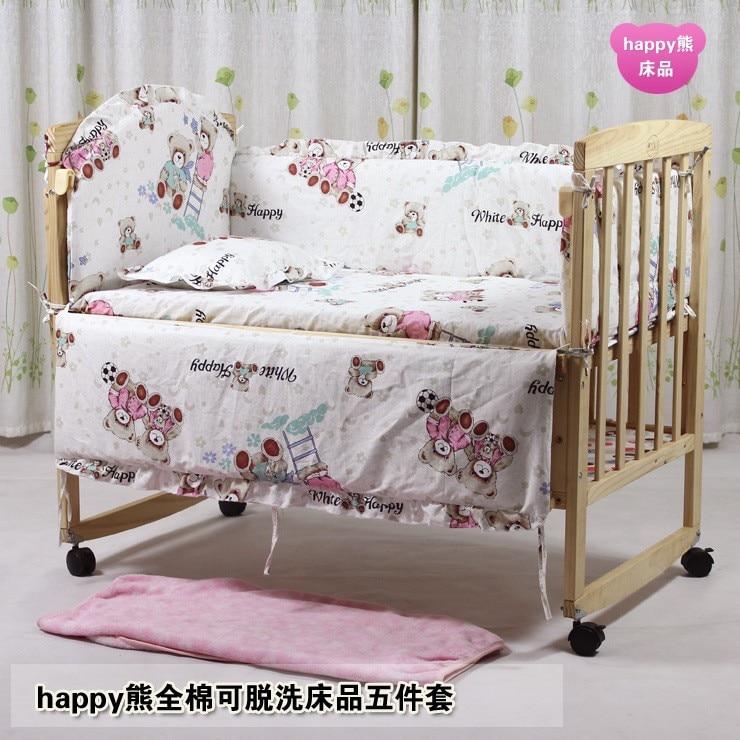 Promotion! 6PCS Crib Sets High Quality Cotton Baby Bedding Sets,Cute Animal (3bumpers+matress+pillow+duvet) 100*60/110*65cm