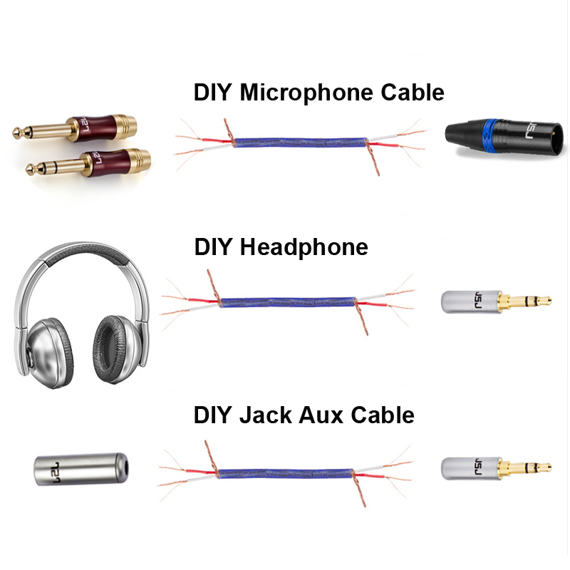 Digizulu DIY Microphone Audio Wire for Mini Microphone Mic Aux cable XLR Interconnect Mixer Headphone Speaker Amplifier Cable
