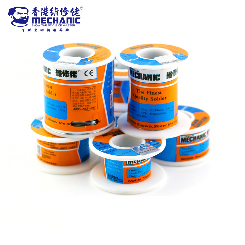 MECHANIC 100g 500g Sn63% Pb37% 0.3/0.4/0.5/0.6/0.8/1.0/1.2mm HX-T100 High Purity Low Melting Point Solder Wire