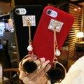 Роскошный Дизайн для IPhone 6 Case Меха Лисы Мяч Металлической Цепью Плюшевые Phone Case для Iphone6s 6 плюс 7 7 плюс 5SE Роскошные Задняя Крышка Сумка
