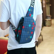 Oxford Fabric Chest Bag Crossbody Bag Geometric Casual Single Strap Phone Pocket Zipper Chest Package Men Messenger Bags Small цена и фото