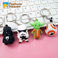 4pcs/lot star wars 7 Movie Series action figures anime figures Darth Vader Stormtrooper BB-8 Yoda Keychains Keyring Gifts toys
