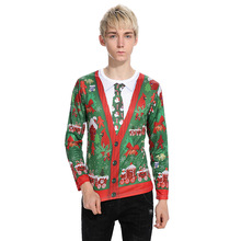 Will the new outer mold Christmas tree 3D false two tie printing fashion men's long sleeved T-shirt CT293
