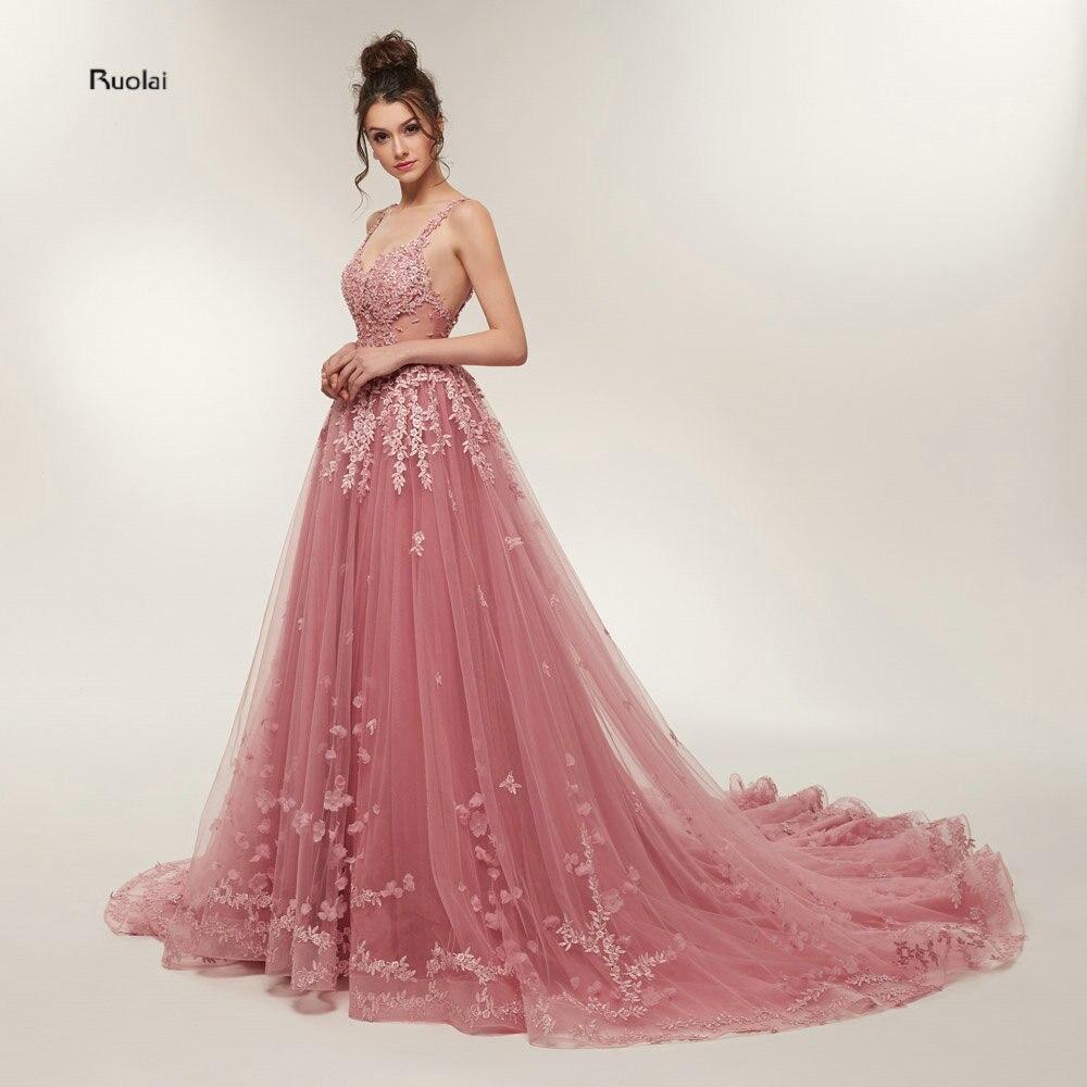 מכירה לוהטת מדהים שמלות נשף 2018 ארוך רכבת קו תחרת אפליקציות שרוולים ערב המפלגה שמלת פורמליות שמלת חלוק דה Soiree