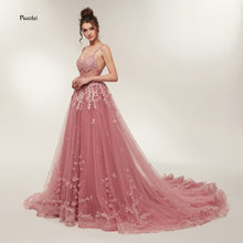 Hot Sale Gorgeous Prom Dresses 2019 Long Train A line Lace Appliques Sleeveless Evening Party Dress Formal Robe de Soiree