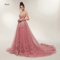 Hot Sale Gorgeous Prom Dresses 2018 Long Train A line Lace Appliques Sleeveless Evening Party Dress Formal Dress Robe de Soiree