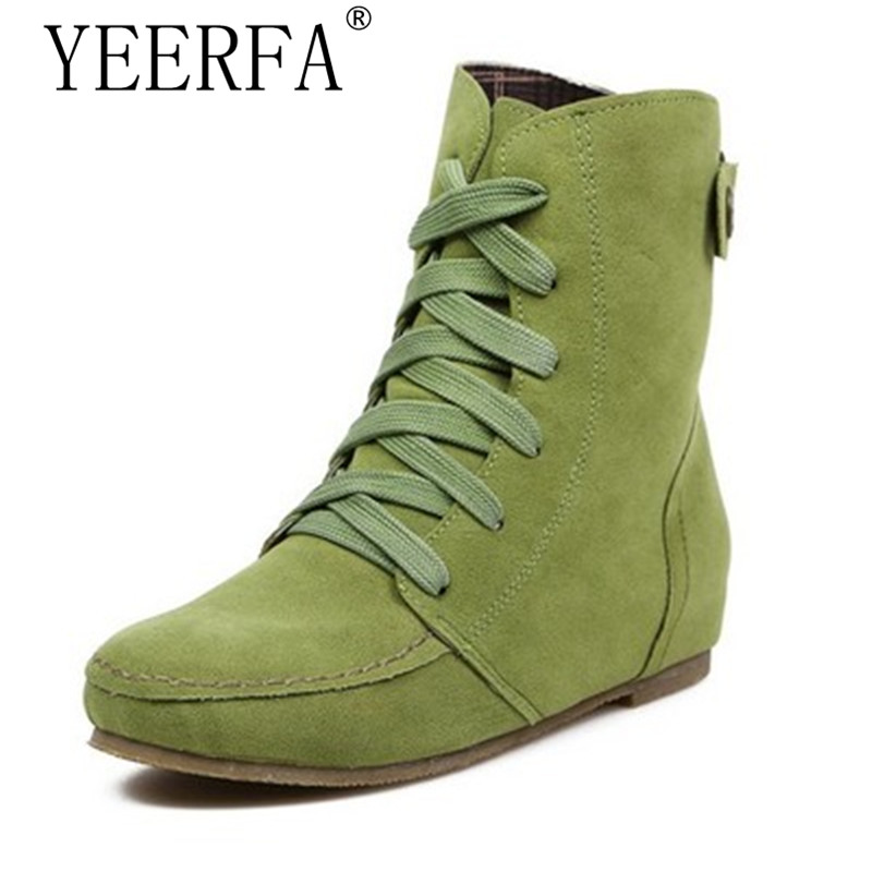 YIERFA Plush Boots Women Shoes Fux Suede Leather Lace up Basic boots Flats boots Female Ankle Boots Winter Autumn Big Size Plus front lace up casual ankle boots autumn vintage brown new booties flat genuine leather suede shoes round toe fall female fashion