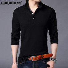 COODRONY Long Sleeve T Shirt Men Streetwear Tshirt Classic Casual Turn-down Collar T-Shirt 100% Cotton Tee Homme 95001