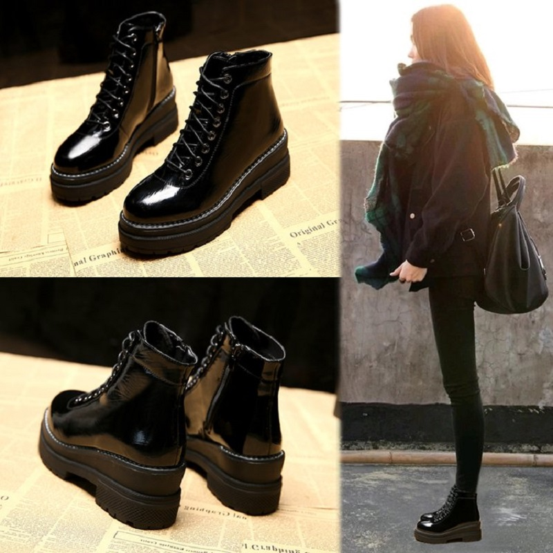 2018 Martin boots women's wild snow boots women's thick plus velvet boots Korean version of the sponge cake cotton shoes winter yagenz 2017 new feather cotton coats winter korean version of the long section of the big hair collar loose thick cotton coat