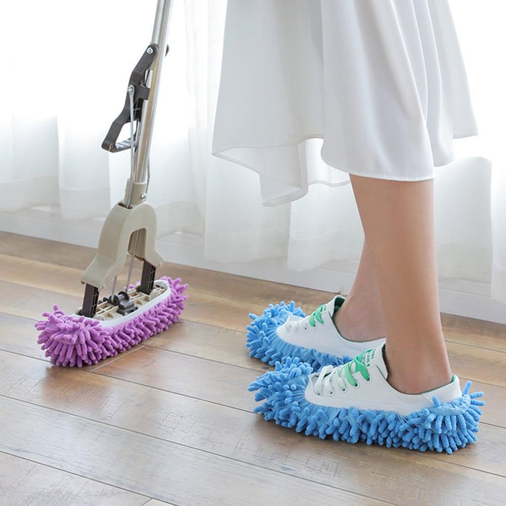 1 pieza de fregona zapatilla de piso de pulido limpiador de limpieza de polvo perezoso zapatos de limpieza de pie cubierta de zapatos cubiertas de polvo suministros de limpieza para el hogar