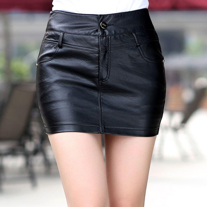 2018 autumn and winter Fashion casual sexy female women girls pencil black mini PU skirt ...