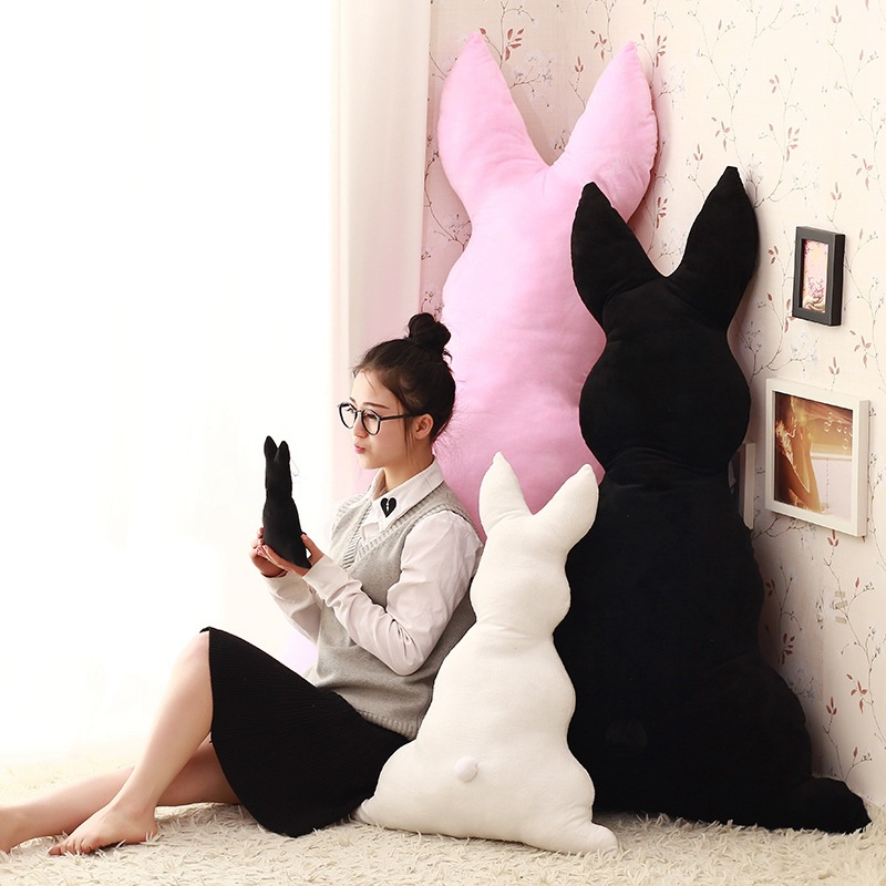 120cm Big Plush Soft Stuffed Cartoon Sketch Rabbit Toy Large Back Bunny Doll Huge Animal Throw Pillow Cushion Gift for Kids C60b rabbit plush keychain cute simulation rabbit animal fur doll plush toy kids birthday gift doll keychain bag decorations stuffed