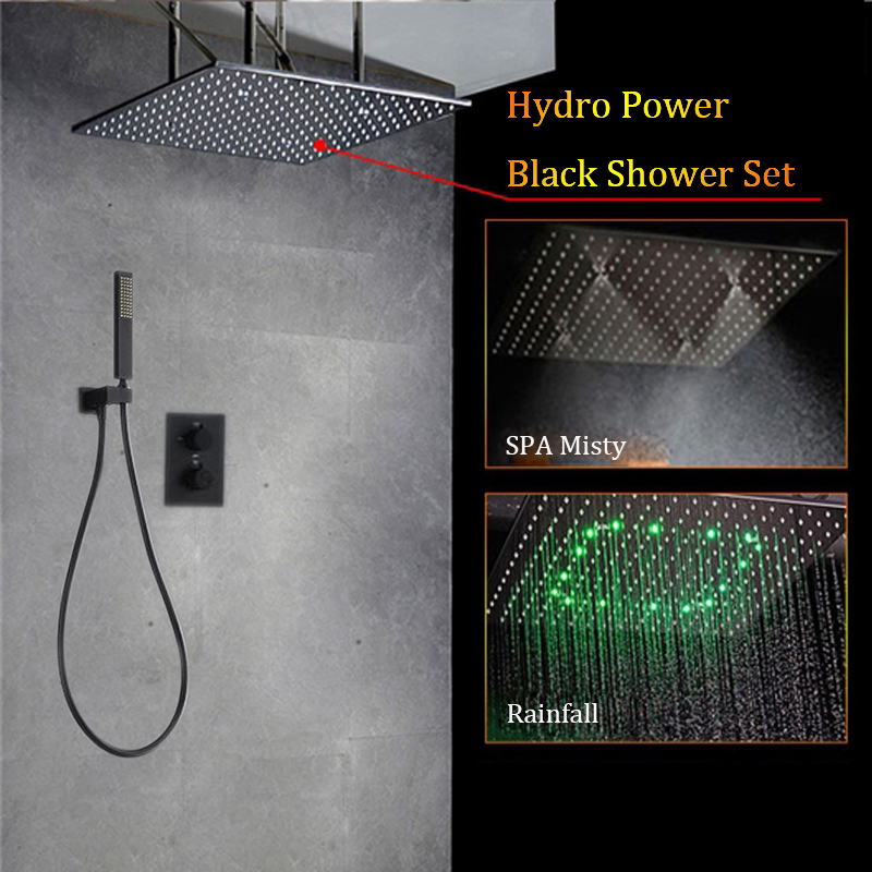 Black LED Shower Head Set Rainfall Mist 50*50 cm Shower Panel 304 Stainless Steel thermostatic Mixer Faucets Saving Water 2 Ways
