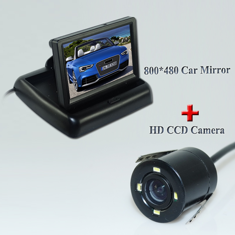 2 in 1 Auto Parking Assistance 4 LED Night Vision Reversing CCD Car Rear View Camera + 4.3 inch Car Reverse Mirror <font><b>Monitor</b></font>