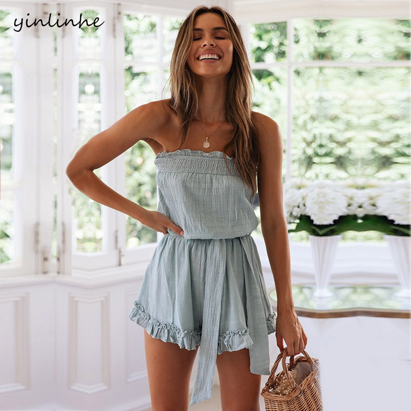 Yinlinhe Blue Overalls For Women Playsuit Off Shoulder Sexy Beach Boho White Romper Summer Short Jumpsuit Women Cotton Linen 869