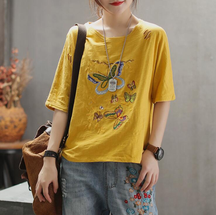 2019 Plus size womens t shirt tops spring summer butterfly Embroidery loose casual t shirts 1