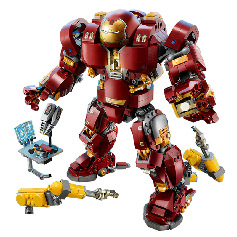 1527pcs Diy Super Heroes Iron Man Anti Hulk Mech Model Building Blocks Compatible With Legoingly Bricks Toys For Children Gifts 60pcs lot 108 111 ghostbusters super heroes figures with weapons building blocks bricks toys for children birthday gifts