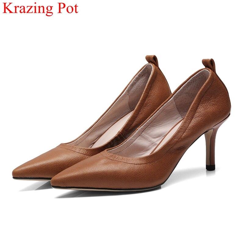 Krazing Pot nouveau cuir de vache talons hauts sans lacet peu profondes femmes pompes bout pointu marque bureau dame fête solide chaussures de mariage L22-in Escarpins femme from Chaussures    1