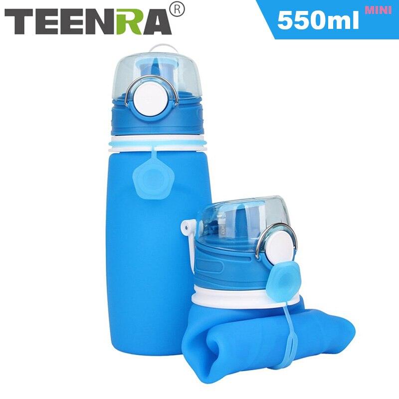 TEENRA 550 ML De Silicone Dobrável Dobrável Garrafa De Água Garrafa de Água Garrafa de Água Bpa Livre Para Crianças Leak-prova Para esporte Ao Ar Livre