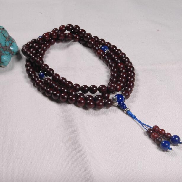 8 MM Redsandalwood Mala indien Redsandalwood perlé bijoux tibétain 108 perles de prière tibétain prière Mala