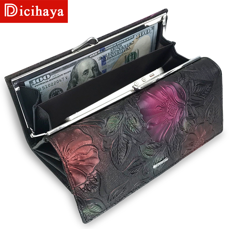 DICIHAYA New Arrive Ladies Wallets Leather Women Long Purse Flower Embossing Female Hasp Wallet Money Clips Cards Purse A142-911 cossroll flower embossing women wallets and purses trifold hasp wallet female long design clutch women s purse monedero mujer