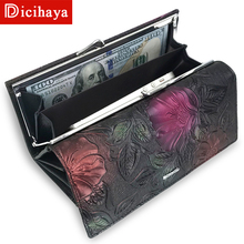 DICIHAYA New Arrive Ladies Wallets Leather Women Long Purse Flower Embossing Female Hasp Wallet font b