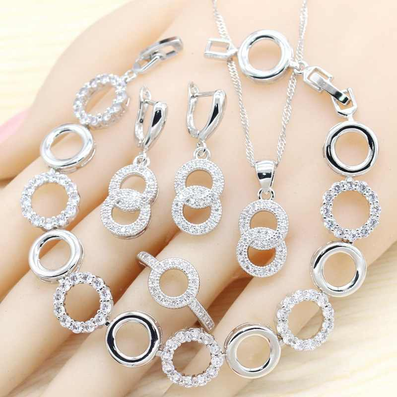 Round 925 Silver Jewelry Sets For Women White Semi-precious Necklace Pendant Earrings Ring Bracelet