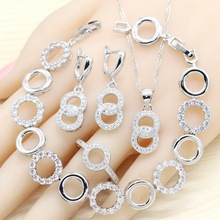 цена на Round 925 Silver Jewelry Sets For Women White Semi-precious Necklace Pendant Earrings Ring Bracelet