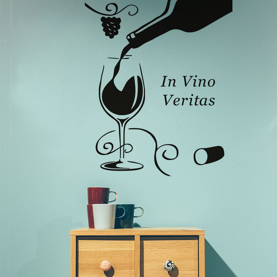 Diy Home Decor Black In Vino Veritas Wine Glass Bottle Floral ...
