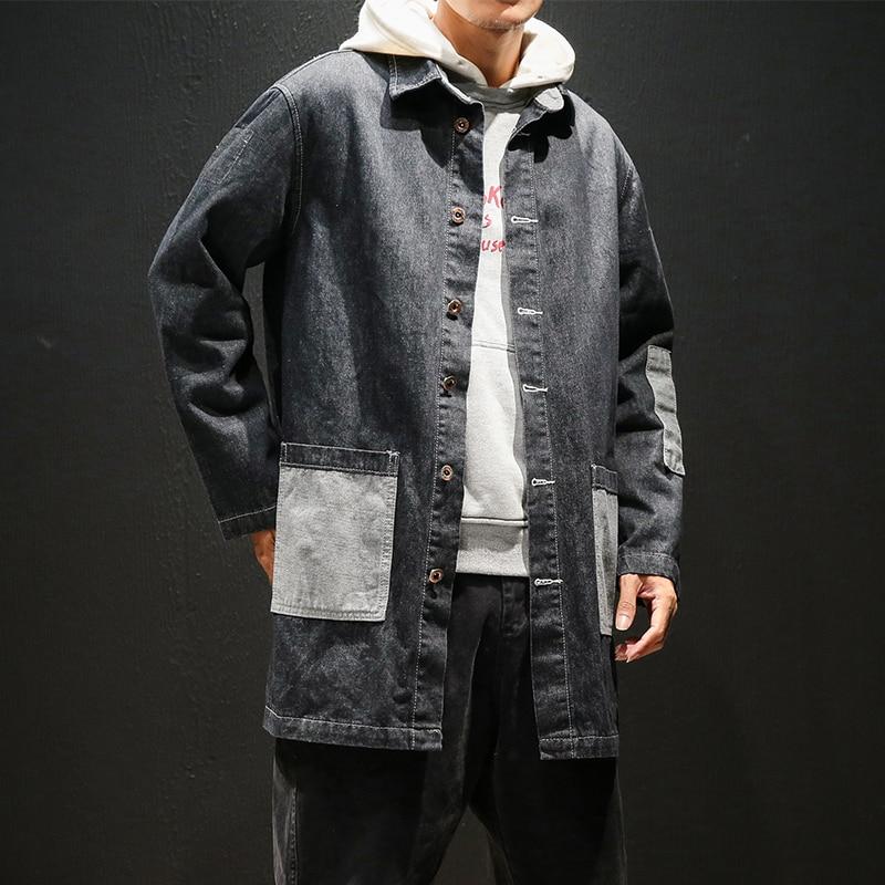 Men denim   trench   coat 5XL Big Size Trenchcoat 2018 Autumn Winter Fashion Windbreaker Men long Jacket Coats Male Overcoat #053