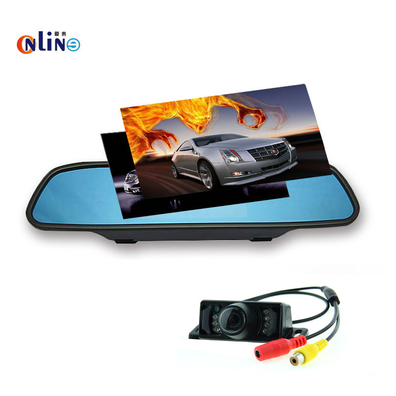Online/Car electronics HD Rear View Mirror Monitor 2 Video Input 800*480 Car Monitor+7 LED Night for Vision Parking Color Camera