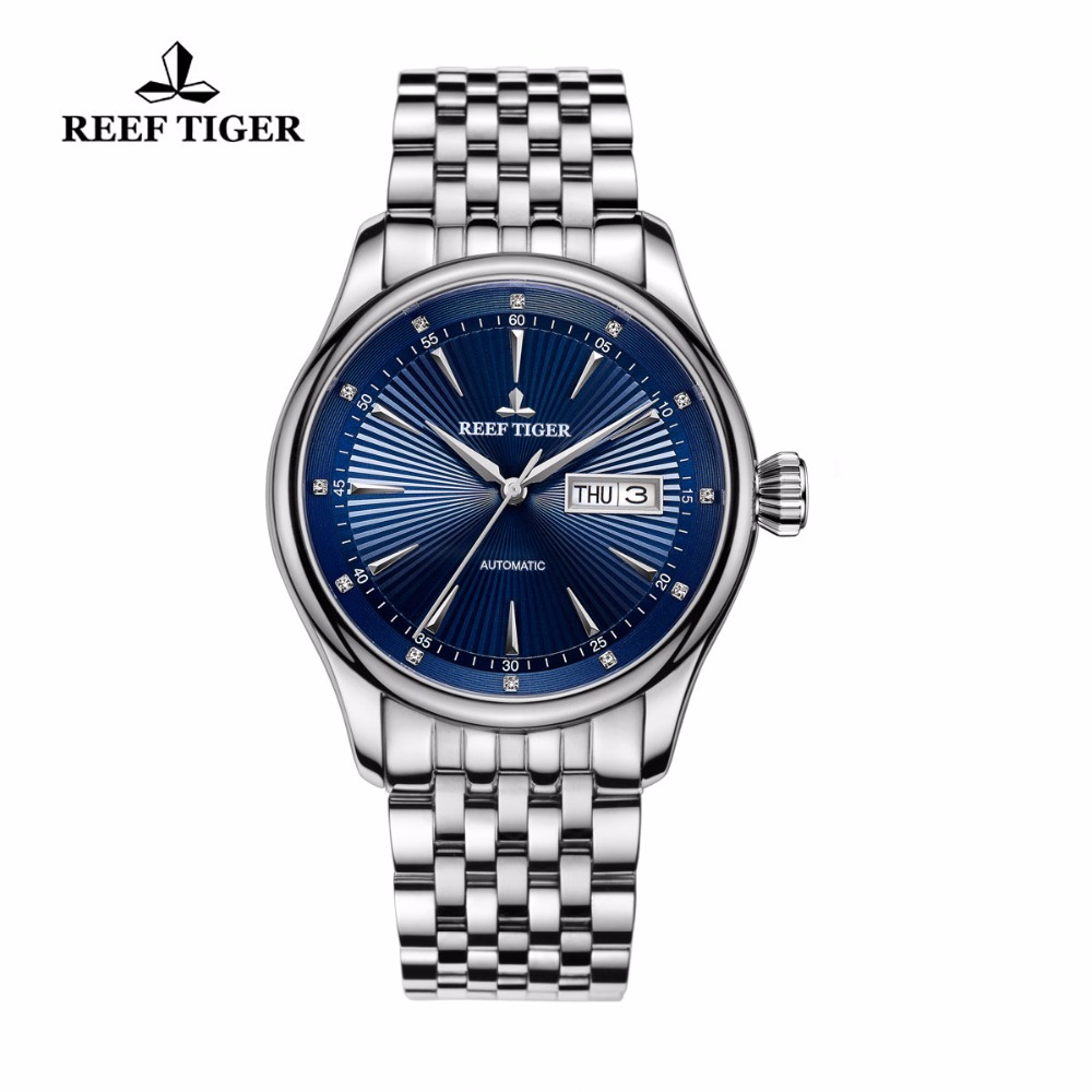2017 Reef Tiger/RT Mens Dress Watch Full Stainless Steel Blue Dial Automatic Wrist Watches with Date Day RGA8232 вьетнамки reef day prints palm real teal