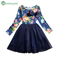 Girls princess dress long sleeve spring summer girls dresses with flowers casual toddler girl party dress kids clothing for sale