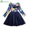 Meninas vestido de princesa de manga longa primavera verão vestidos de meninas com flores vestido de festa da menina da criança crianças roupas casuais para venda
