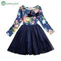 Princesa de las muchachas vestido de manga larga primavera verano vestidos de las muchachas con flores toddler casual party girl dress niños ropa para la venta