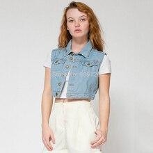 European Jacket Sleeveless Women Vest Denim Style Short Feminino Small Waistcoat Jacket All Match Jeans Gilet 2016