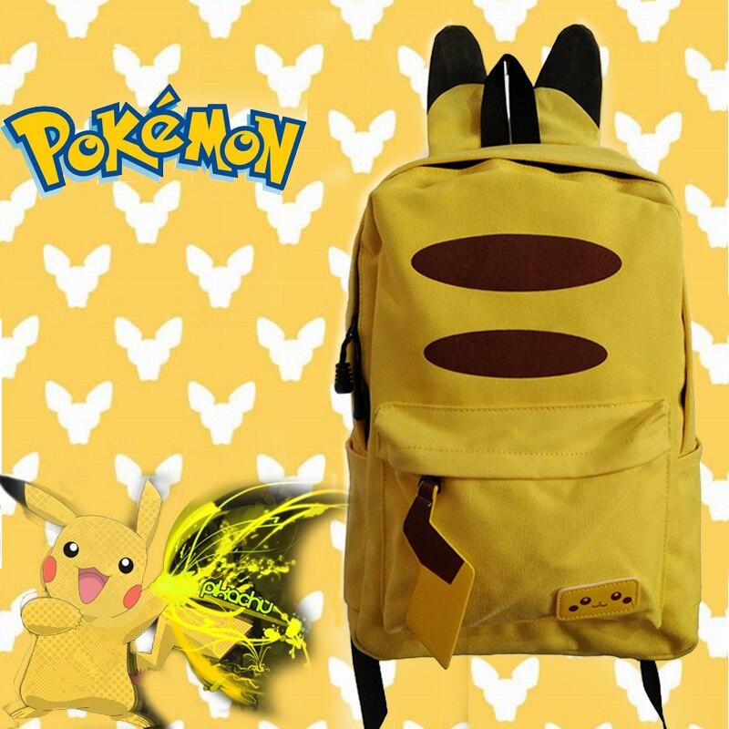 Japanese Anime Pokemon Pikachu 3D Backpack Pocket Monster Cosplay School Bagpack Nylon Bag Bolsa Feminine with Ears and Tail japan pokemon harajuku cartoon backpack pocket monsters pikachu 3d yellow cosplay schoolbags mochila school book bag with ears