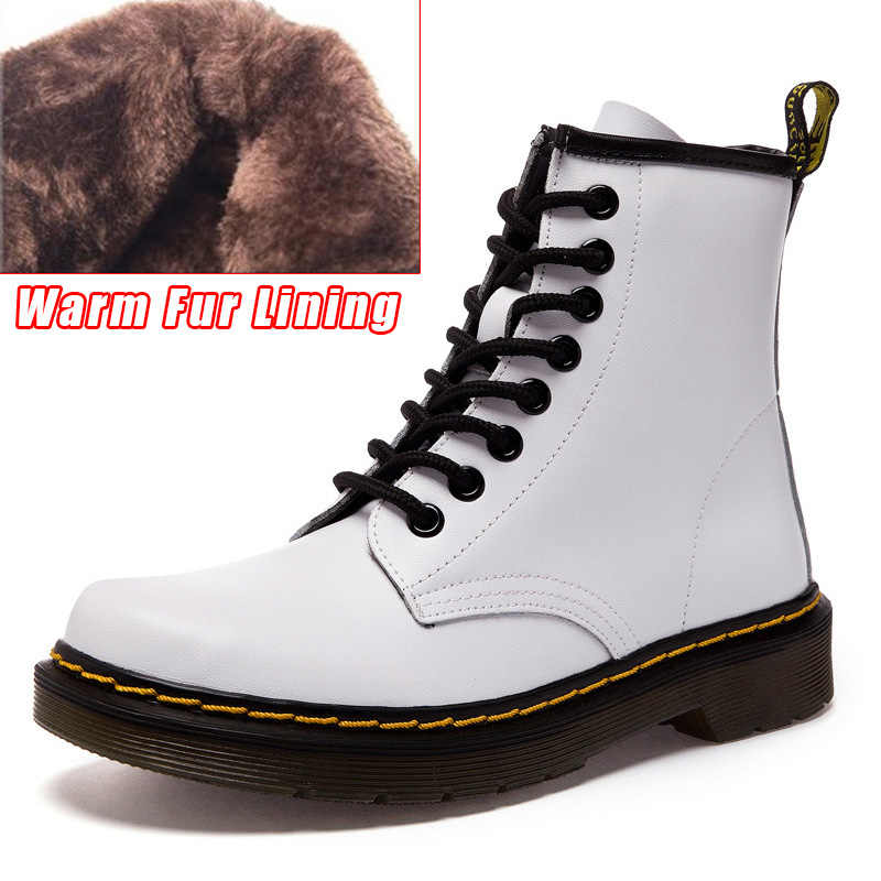 a274f7b943 LAKESHI Genuine Leather Women Boots Dr Ankle Boots Winter Work Safeti Boots  Solid Ankle Boots Female Punk Women Shoes Size 46