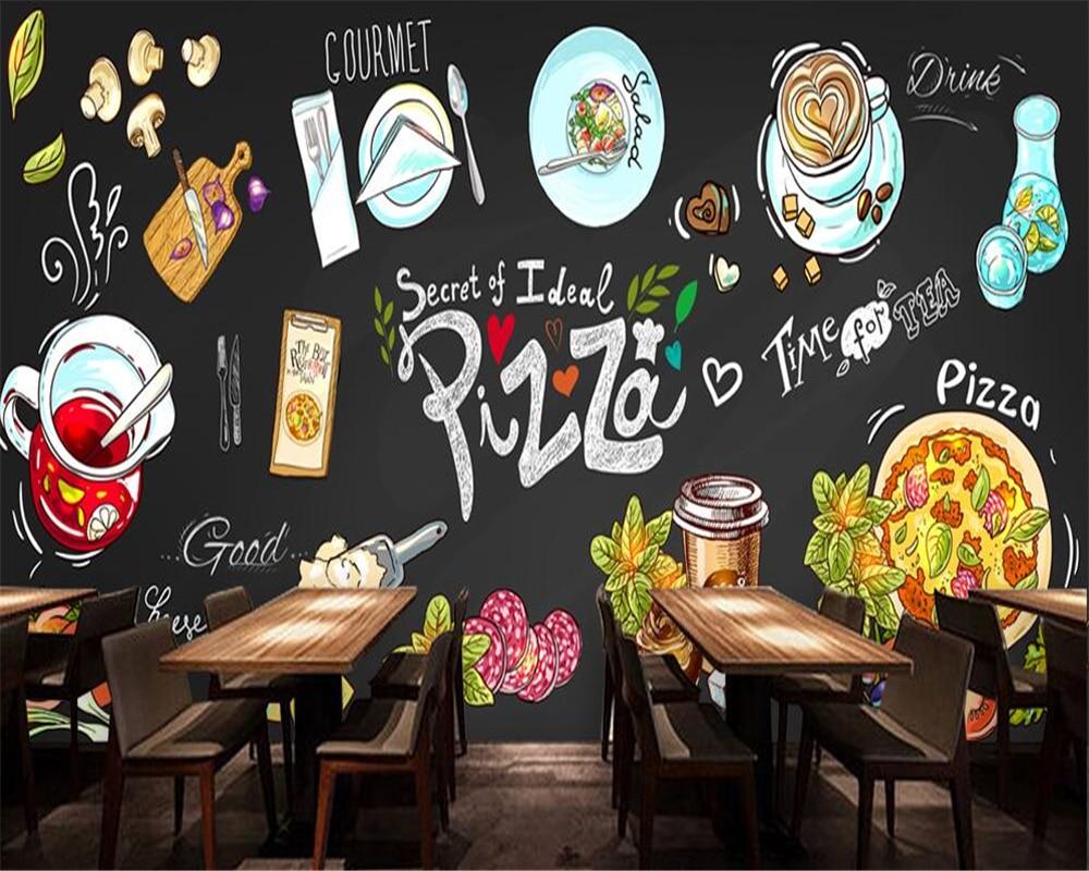 Beibehang Custom Wallpaper HD Hand-painted Blackboard Pizzeria Background Wall Restaurant Canteen Decorative Mural 3d Wallpaper
