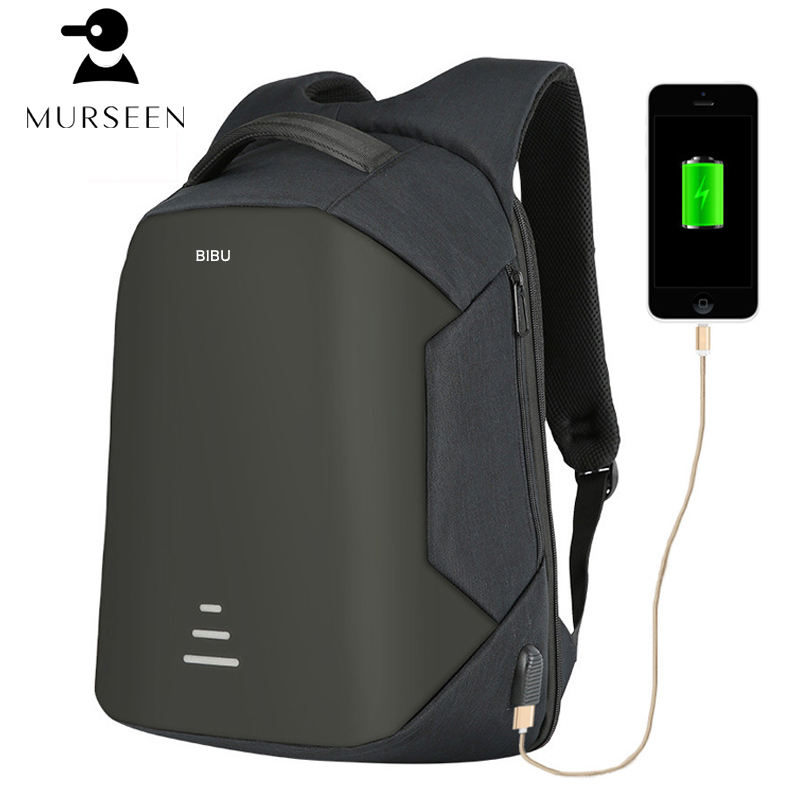 Murseen 2017 New Fashion Anti-theft Backpack High Quality USB Charging Travel Bag Laptop Backpack Waterproof Bag for Men Women