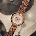 Sexy Marke Leopard Armband Uhren für Frauen Sommer Mode Kleid Uhr Voller Stahl Milanese armbanduhr Kristalle Shell Montre
