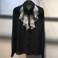 Dressnow office blouse for women 2018 spring fashion ruffles collar blouse full sleeve blouse