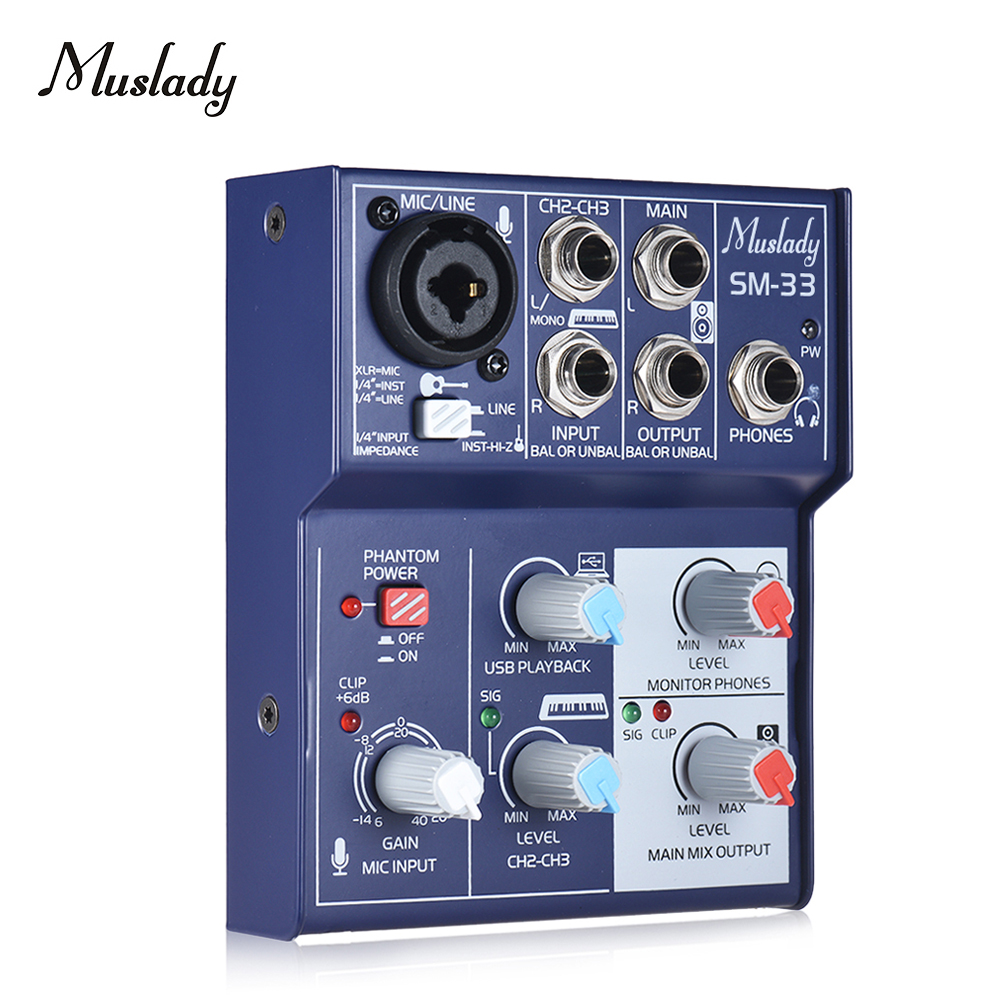 buy muslady sm 33 mini 3 channel sound card mixing console digital audio mixer. Black Bedroom Furniture Sets. Home Design Ideas