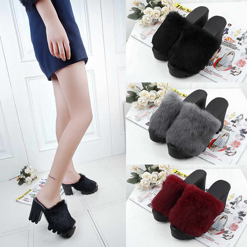 new thick with waterproof platform slippers fish mouth high heels slippers real rabbit fur slippers  #43