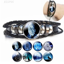 Men Fashion Wolf Bracelet Howling Wolf Glass Dome Charm Leather Bracelets Steampunk Men Black Bangle(China)
