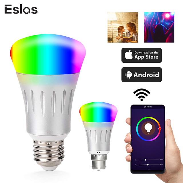 Eslas Smart Bulb WiFi E27 B22 Light LED 16 Million Colors App Remote Control Voice Control Works With Google Home Alexa Echo