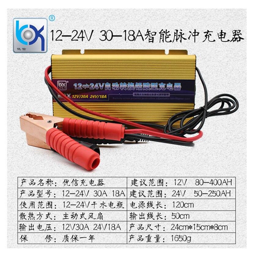 Мощная Электрическая Автомобильная лодка вилочный погрузчик батарея зарядное устройство Профессиональный 18A 30A свинцово кислотные AGM геле... - 4