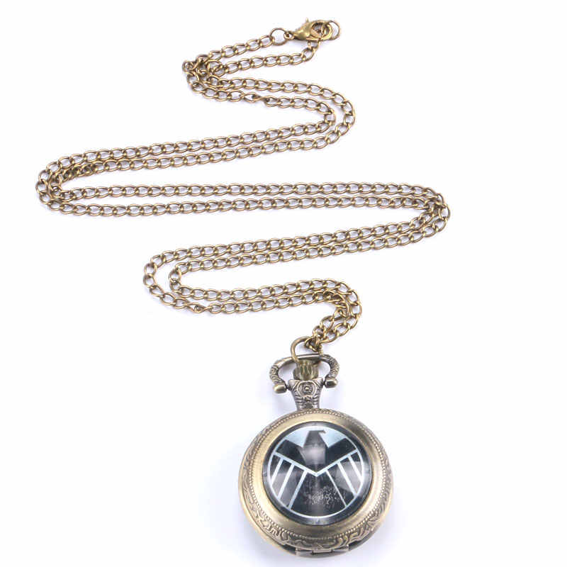 Cool Pocket Watch Unique Big Bird Black SHIELD Design With Bronze Chain Necklace for Lover Friends Gifts Personality Accessories